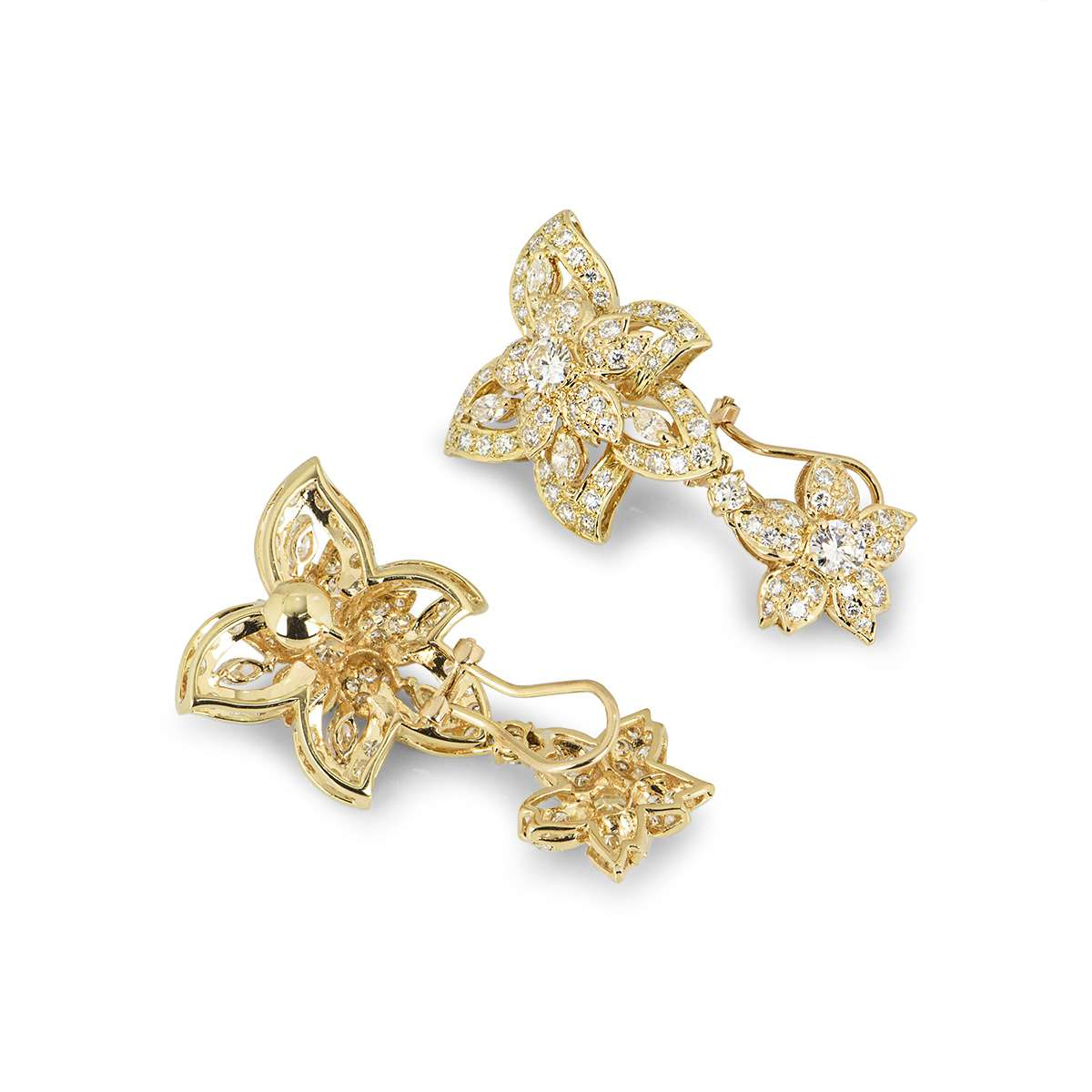 Yellow Gold Diamond Flower Drop Earrings